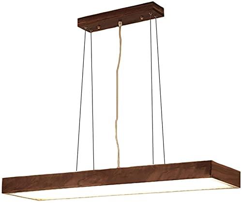 Candelabro Artesanía de Madera Lámpara Colgante Luz de Techo de Tira Larga Lineal, Lámpara Colgante Vintage Simple Accesorio de iluminación LED Decorado para