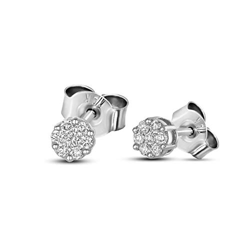 Valentines Day Gifts Lab Grown Diamond Earrings 1/4 Carat 7 Stone Stud Earring Diamond Stud Earrings For Women 14K White Gold GH-SI Quality Diamond Earrings Gifts for Her