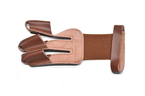 Windfulogo - Guanti in pelle per tiro con l'arco, protezione per le mani, con arco lungo per la mano destra, 3 dita, colore: Marrone