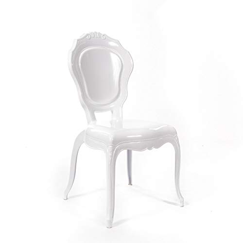 Niches V2 White Gloss Stack-able French Rococo Style Dinning and Dressing Table Side Chair.