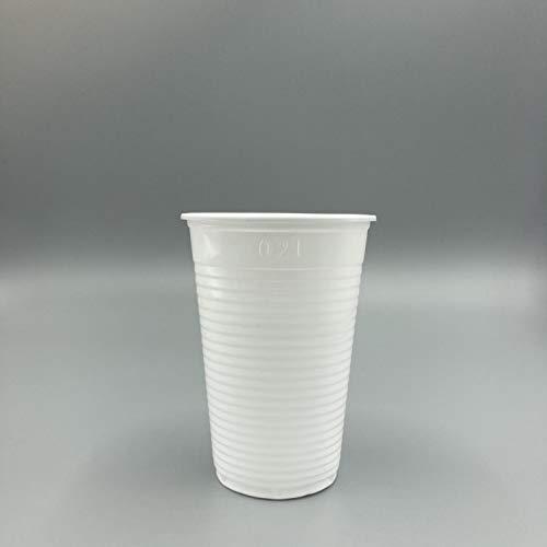 Enpack Einwegtrinkbecher 0,2 L weiß, 3000 Stück, Partybecher aus Kunststoff, Ideal für Feste, wie Geburtstage, Hygienebereiche, Qualitäts Trinkbecher Ausschankbecher Plastikbecher