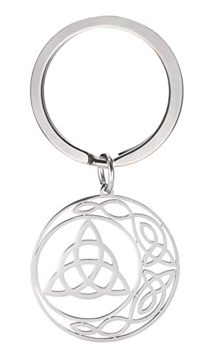 cooltime Stainless Steel Pendant Keychain Irish Celtic Knot Pentagram Good Luck Jewelry for Women (Celtic Knot)