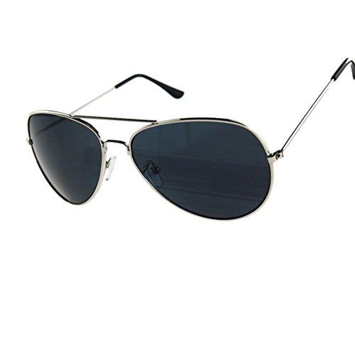 QHGstore ?Gafas de sol reflexivo de la lente del metal de plata + Resina Uv400 Freen&lente gris