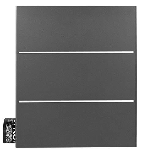 MOCAVI Box 141 deutscher Qualitäts-Briefkasten mit Zeitungsfach grau-eisenglimmer (DB 703) mit Edelstahl-Dekor, Wandbriefkasten dunkelgrau groß, Postkasten modern mit Zeitungsrolle, Design-Briefkasten