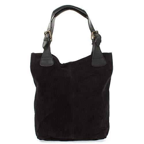 LECONI Henkeltasche Echt-Leder Wildleder Damentasche Handtasche für Damen Shopper für Freizeit, Büro oder Shopping Beuteltasche Frauen Ledertasche Veloursleder 34x35x10cm schwarz LE0033-V