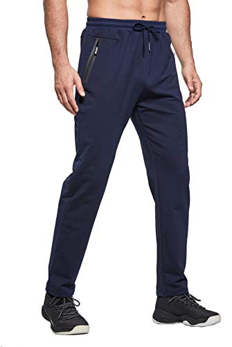 ZOXOZ Jogging Homme Survetement Pantalons de Sport Homme Sportswear Running Jogger Coton Training Bas Jogging Slim Fit Taille éLastiquéE Pant avec Poches Zippées Bleu 2XL