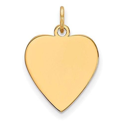 Saris and Things 14k gelbgold Plain 0,011 spur Herz engravable disc Charm
