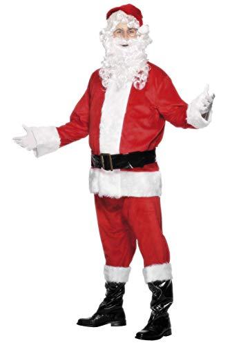 SMIFFYS Smiffy's Costume di Babbo Natale, Rosso, con giacca, pantaloni, barba, cintura, cappello per Adulti, Rosa, L, 24502L