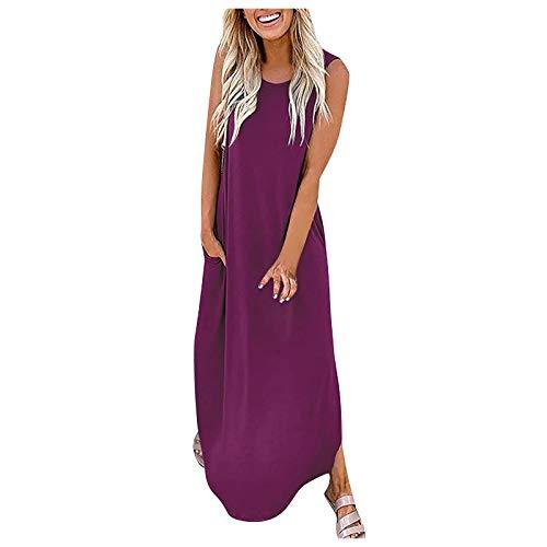 Qigxihkh Mädchen Damen Sommer bequem lässig süß vielseitig mehrfarbiglose einfarbige Tasche langes Kleid ärmellose Geteilte Maxikleider(4-Wein, XL