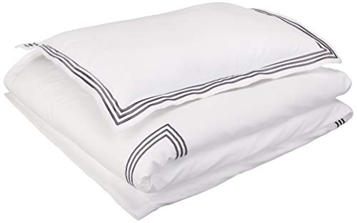 AmazonBasics Embroidered Hotel Stitch Duvet Cover Set - Premium, Soft, Easy-Wash Microfiber - Twin/Twin XL, White with Dark Grey Embroidery