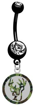 Deer Camo Camouflage & Silver Metal Charm on PREMIUM Black Titanium Anodized Sexy Cute Belly Button Navel Ring