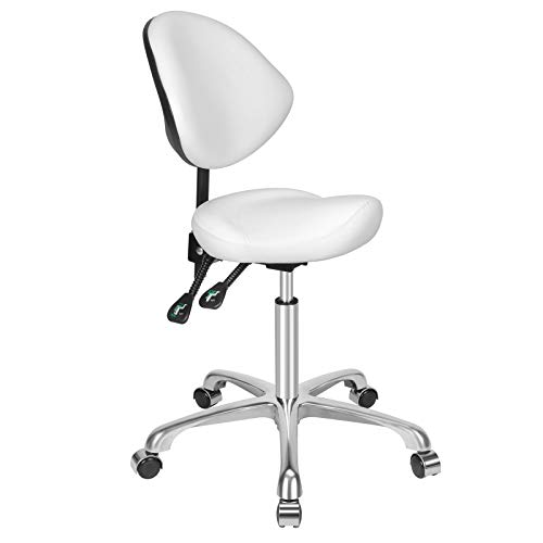 Kaleurrier Ergonomic Rolling Swivel Saddle Stool with Wheels,Hydraulic Pneumatic Lifting Height Adjustable Saddle Chair for Clinic Hair Salon Lab Kitchen Home Office Drafting Chairs (White, With Back)