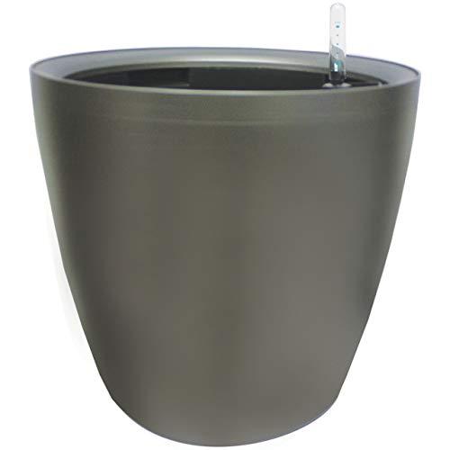 Maceta autorregable AQ4338 decorativa, redonda, bajita - Grande, moderna - Interior y exterior - Autorriego inteligente - Gris metálico - Plástico ABS anti UV (43cm de diámetro x 38cm de alto)