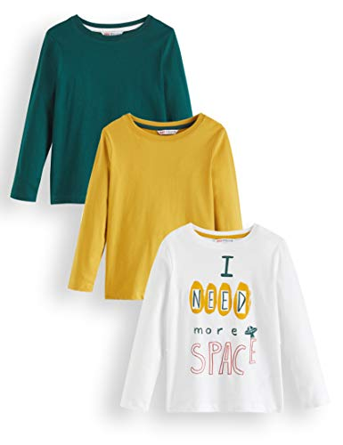 RED WAGON Jungen Langarmshirt Rwb-504, Mehrfarbig (White, Mustard And Green), 134, Label:9 Years