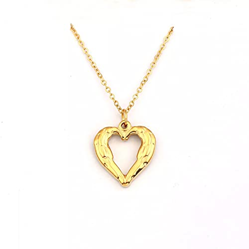 Collar Collar De Plumas De Amor con Estilo Simple De Oro En Forma De Corazón Pluma Colgante Amantes Románticos Regalo Joyería De Fiesta
