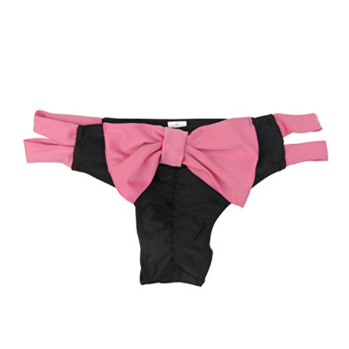 Damen Brazilian Slip Bikini Badehose Strand Mini Tanga Rüsche Design Badeanzüge G-String Unterwäsche Baden Tanga (EU38, Black+Pink)