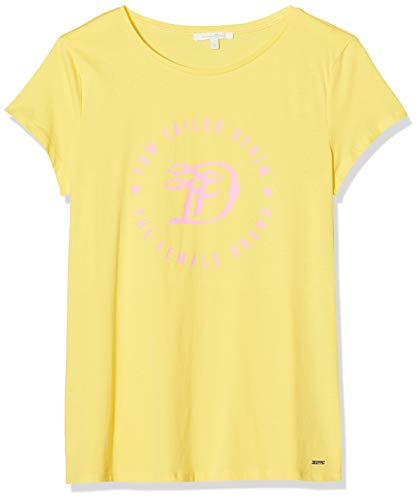 TOM TAILOR Denim Damen Basic Logo Tee T-Shirt, Golden Summer Yellow, XXL