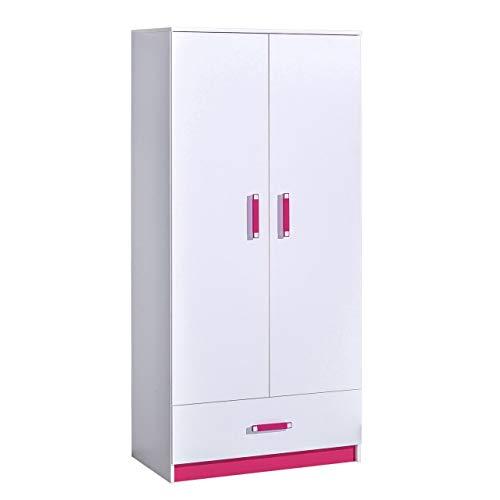 KRYSPOL Kleiderschrank TRAFIKO 1 Drehtürenschrank mit Kleiderstange und Schublade, Kinderzimmer (Weiß/Weiß + Rosa)