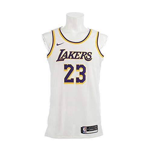 Nike Herren Lal M Nk Swgmn JSY Home Unterhemd, weiß/gelb/Feld lila/James Lebron, S