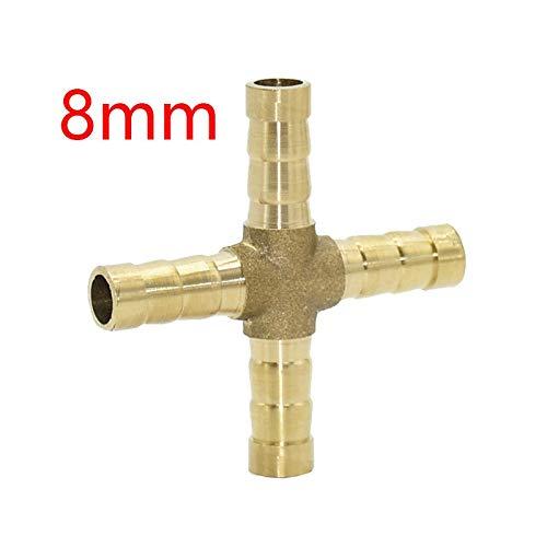 AIYU--MAOYI Hecha a Mano Adaptador de Conector 10pcs Cruz de latón de la lengüeta de Manguera de 8 mm de 10 mm de 4 vías Tubo Manguera Barb Cobre Acoplamiento de púas Durable (Color : 8mm)