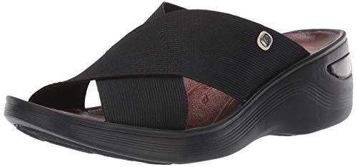 Bzees Women's Desire Slides Sandal, Black Stretch Fabric, 7.5 W US