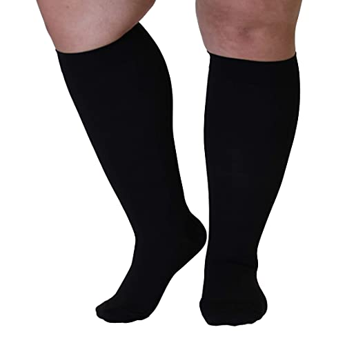 Mojo Compression Socks - Made in USA 3X-Large Plus Size - 20-30 mmHg - Unisex - Extra Wide Calf Knee HI - Opaque, Closed Toe - Black 3XL