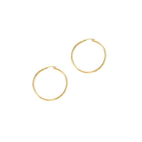14kt Gelb Gold 1,5x 30mm glänzend rund Tube Reifen Fancy Ohrring