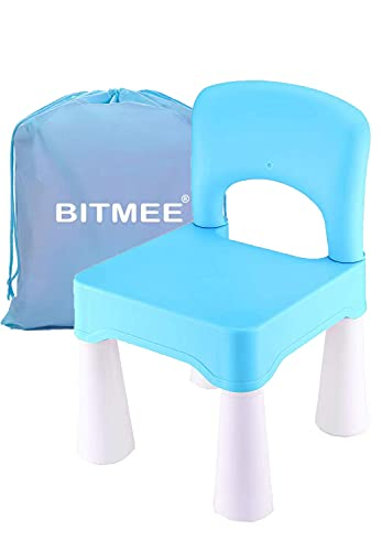 BITMEE Kids Chair, Toddler Chair, Toddler Chairs for Boys and Girls, A Free Portable Storage Bag, Ergonomic Design, Environmentally Friendly Durable Plastic-Sky Blue