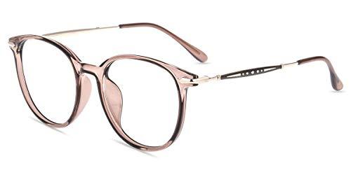 Firmoo Blaulicht Brille ohne Sehstärke Damen Rund, Blaulichtfilter Computer Brille gegen Kopfschmerzen, Entspiegelte Brille Blaulicht Brown, UV-Schutz, Kratzfest