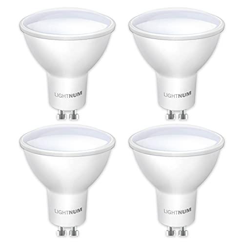 GU10 LED Warmweiss 2700K, LIGHTNUM 5W 400lm LED Glühbirne ersetzt 40W Halogenlampen, 120° Strahlwinkel Reflektorlampen, 4 Stück