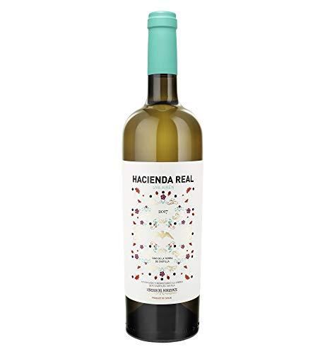 HACIENDA REAL - Vino Blanco de 100% Uva Airén, Aroma Frutal, Pospaladar Persistente, Ideal con Embutido, Arroz, Pescado, Marisco y Carnes Blancas, 75cl