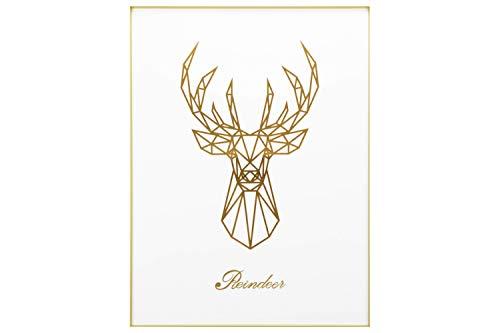 Kunstloft® Cuadro Enmarcado en 3D 'Shining Deer' 60x80cm Ciervo Dorado Blanco