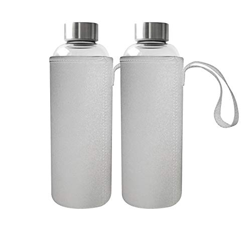 Rosenstein & Söhne Trinkflasche Glas: 2er-Set Trinkflaschen, Borosilikatglas, Neopren-Hülle, 750ml, BPA-frei (Trinkflasche Borosilikat)