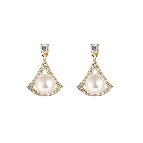 Pendientes de diamantes Pendientes de perlas en forma especial Pendientes de temperamento femenino Nuevo Trendy 925 Pendientes de plata esterlina Pendientes de gama alta Pendientes colgantes
