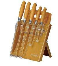 Block–Set di coltelli con tagliere 7pezzi in colore oro