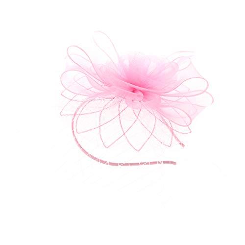 IPOTCH Fascinators Hut Mesh Bänder Federn auf einem Stirnband Hairclip Haarreif Hochzeit Cocktail Tee Party Accessoires - Rosa