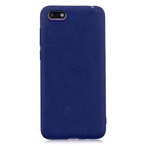 cuzz Funda para Huawei Y5 2018/Y5 Prime 2018/Honor 7S+{Protector de Pantalla de Vidrio Templado} Carcasa Silicona Suave Gel Rasguño y Resistente Teléfono Móvil Cover-Azul Oscuro