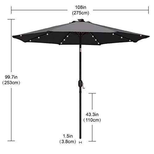9FT Patio Umbrella Ourdoor Solar Umbrella LED Umbrellas with 32LED Lights, Tilt and Crank Table Umbrellas for Garden, Deck, Backyard and Pool,12+Colors,(Dark Gray)