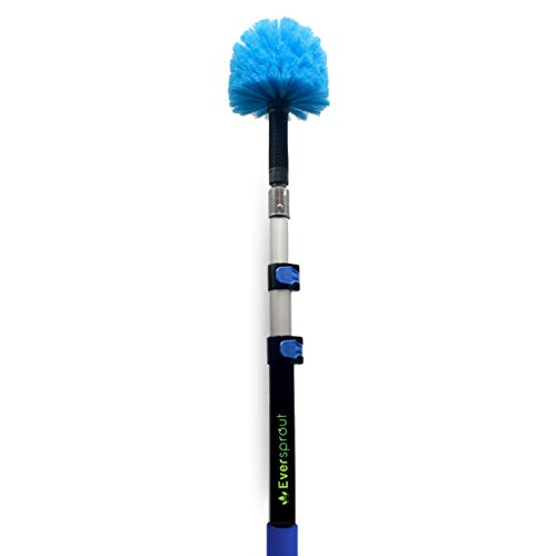EVERSPROUT 5-to-13 Foot Cobweb Duster and Extension-Pole Combo (20 Foot Reach, Medium-Stiff Bristles), Hand-Packaged, Lightweight, 3-Stage Aluminum Pole, Indoor & Outdoor Use Brush Attachment
