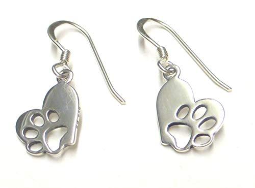 Pendientes de plata de ley con forma de corazón y huella de perro, regalo para amantes de los animales