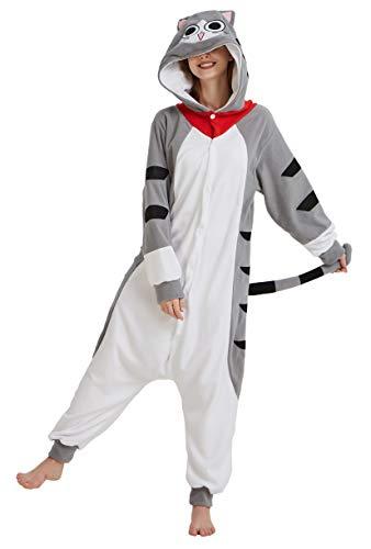 FunnyCos Animal Onesie Adulto Pijamas Unisex Halloween Disfraz para Mujeres Hombres y Adolescentes Gris Gato de Chi L