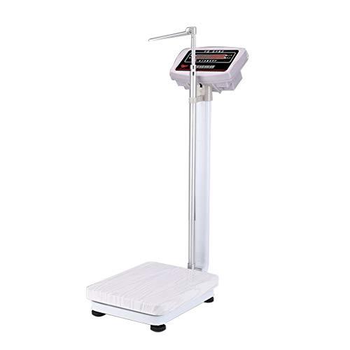 SHYM Báscula de Peso con Medición de Altura Báscula Electrónica con Pantalla LED Base Plegable y Retráctil Pesaje de 0,2 a 180 Kg Medición de Altura de 70 A 190 Cm