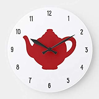 OSWALDO Tea Time Clock Modern Red Teapot Clock Decorative Round Wooden Wall Clock - 12 inch