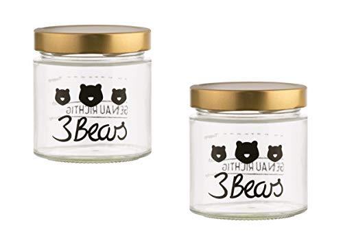 3Bears Frühstücks-Set für echte Porridge Lover | 2x Overnight Oat Gläser im Bärendesign für ein leckeres & schnelles Frühstück | Mit praktischer Markierung zum Abmessen für deine perfekten Oats