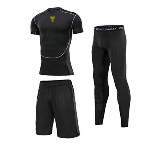 Traje de Ropa Deportiva, Ropa Deportiva for Hombres 3 Juegos, Traje de Entrenamiento Deportivo de Secado rápido for Correr de Noche (Color : H, Size : M)
