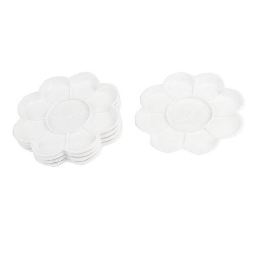 Dimart 5 Pcs White Plastic Flower Shape Watercolor Paint Plate Tray Mixing Palette