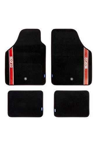 Sparco 03763BRS Juego de Alfombra moqueta Strada Color Negro con Detalle en Rojo y Logo Blanco Universal