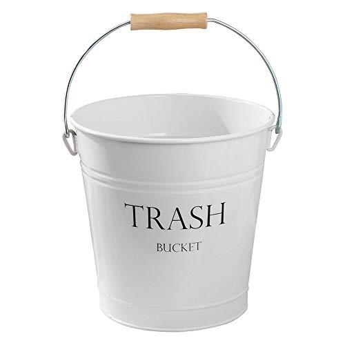 mDesign weißer Abfallsammler aus Metall - perfekt als Mülleimer in der Küche, Papierkorb im Büro oder Abfalleimer im Bad - Tragegriff aus Holz - Landhaus-Stil - 12,5 L Füllmenge