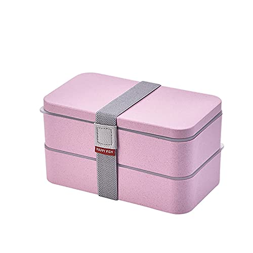 YLLAND 1.2L Caja de Almuerzo 2 Niveles Caja de Alimentos Contenedor de Alimentos Estilo japonés Microondas Lavaplatos Cajas para niños Adultos Estudiante, Beige LNNDE (Color : Pink)
