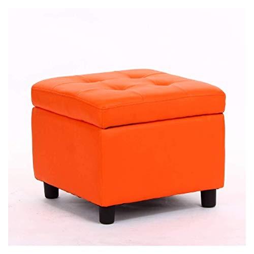 Otomanas y reposapiés Taburete de almacenamiento de cuero sintético / taburete acolchado, banco de cubos para sala de estar, oficina de dormitorio, 4 soporte de madera de madera, adecuado para el alma